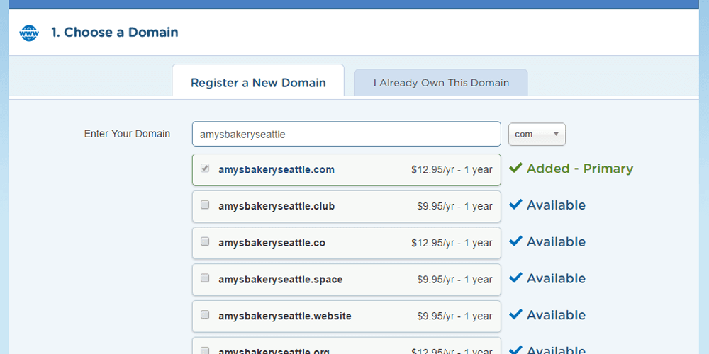 Domain Name Available and Added
