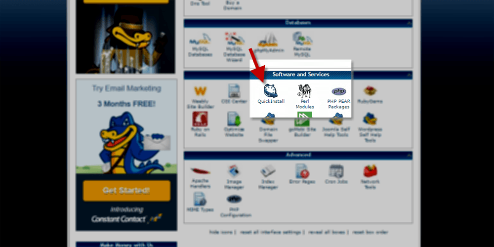 Find QuickInstall in CPanel