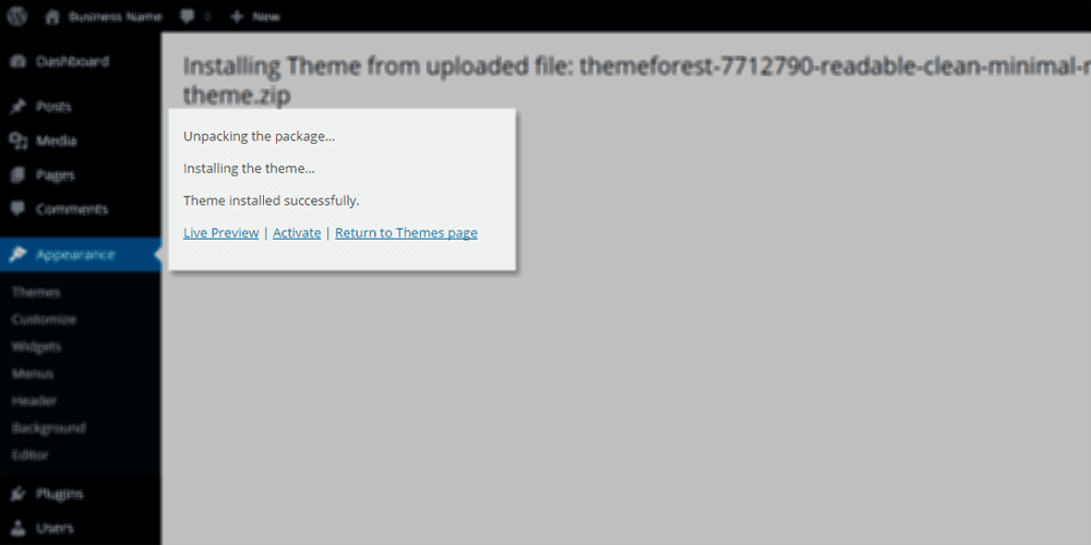 Theme Installed successfully