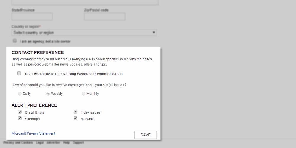 Contact and Alert Preferences